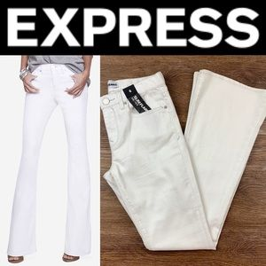 NEW EXPRESS WHITE MID RISE SLIM FLARE JEANS